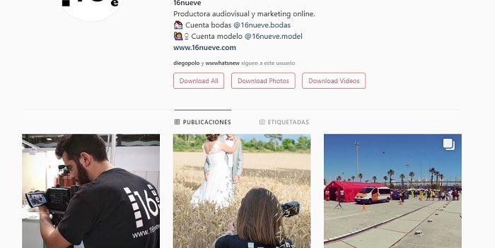 Cuenta Instagram 16nueve