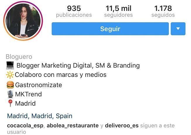 Descripción perfil en Instagram