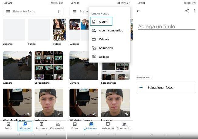 Crear álbum nuevo en Google Fotos